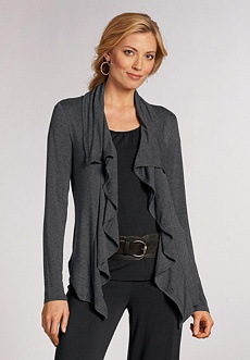 picture of Chadwicks Easy Knit Drape Front Ruffle Cardigan