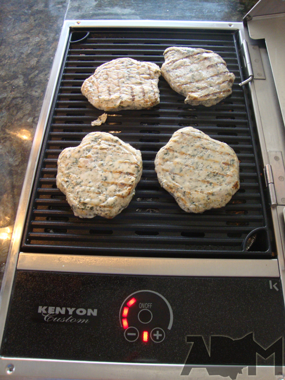 picture of Cooking Chicken Burgers on Kenyon Custom Electric Grill